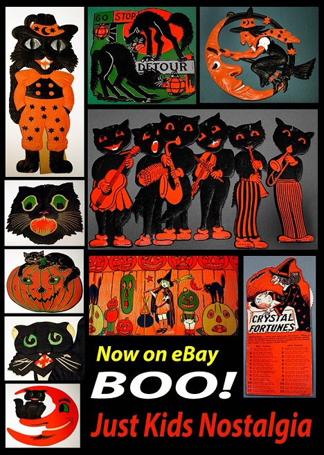 just kids nostalgia is getting ready for the spooky time of the year by selling vintage halloween decorations these scary ghouls witches